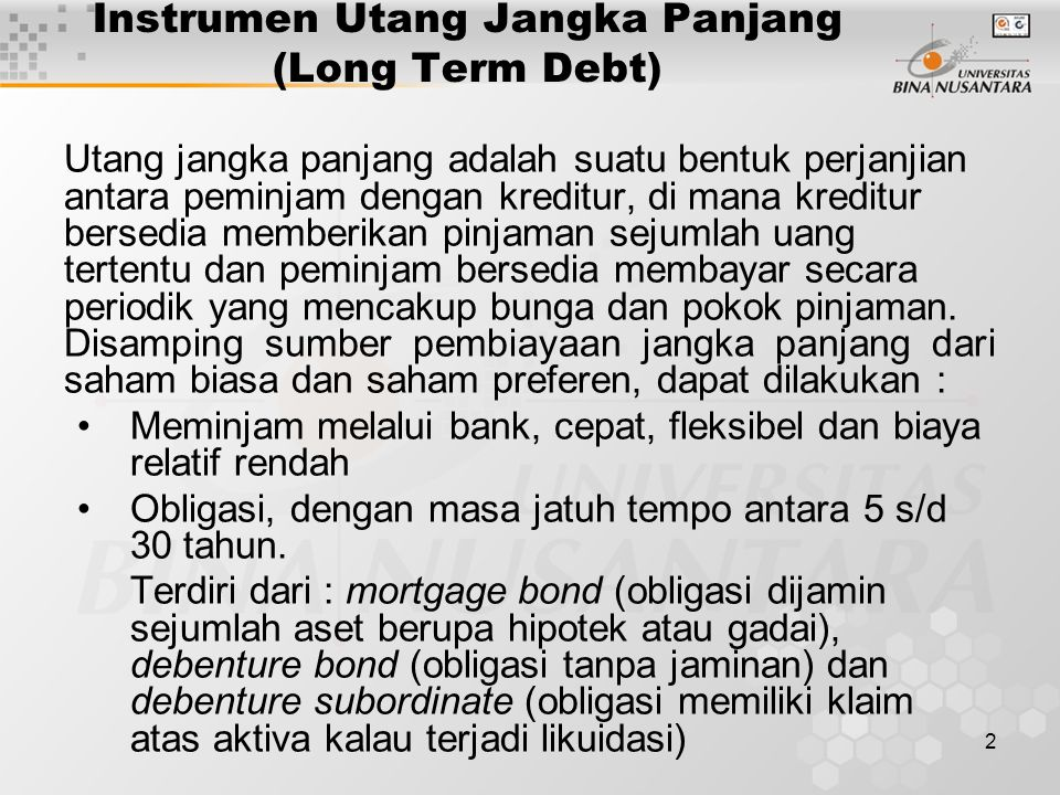 Instrumen Utang Jangka Panjang (Long Term Debt)