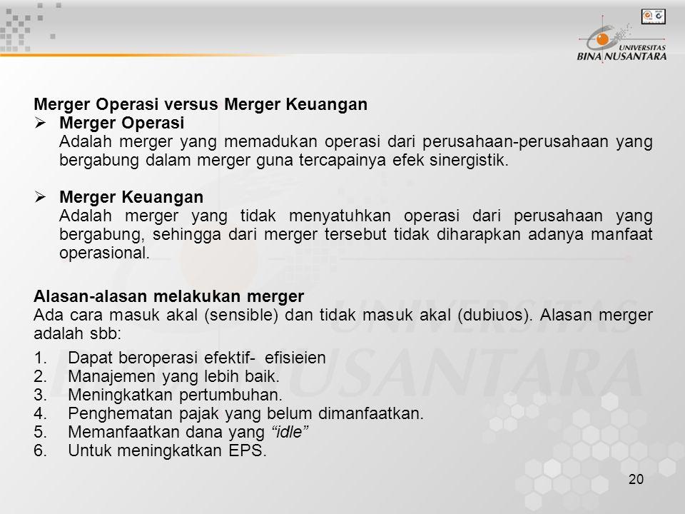 Merger Operasi versus Merger Keuangan