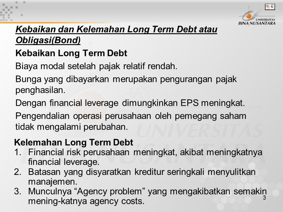 Kebaikan dan Kelemahan Long Term Debt atau Obligasi(Bond)