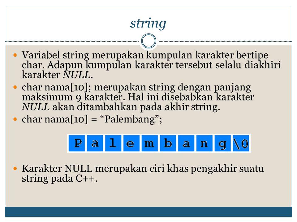 string Variabel string merupakan kumpulan karakter bertipe char. Adapun kumpulan karakter tersebut selalu diakhiri karakter NULL.