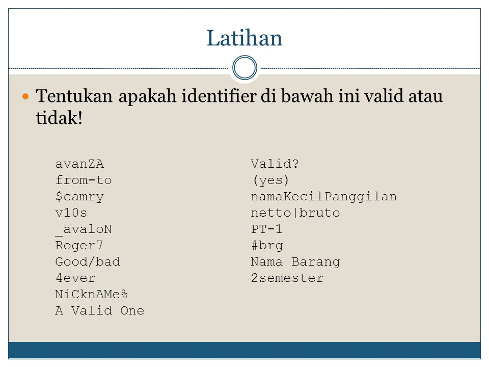 Latihan Tentukan apakah identifier di bawah ini valid atau tidak!