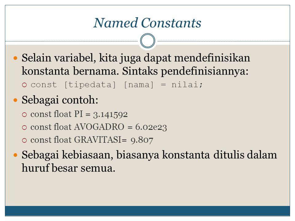 Named Constants Selain variabel, kita juga dapat mendefinisikan konstanta bernama. Sintaks pendefinisiannya: