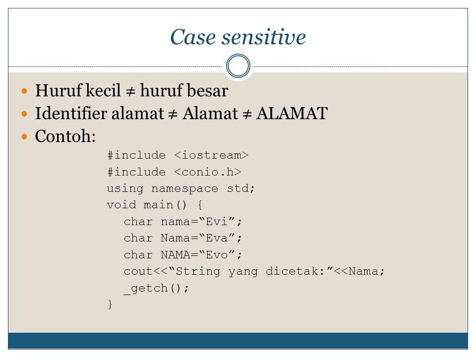 Case sensitive Huruf kecil ≠ huruf besar