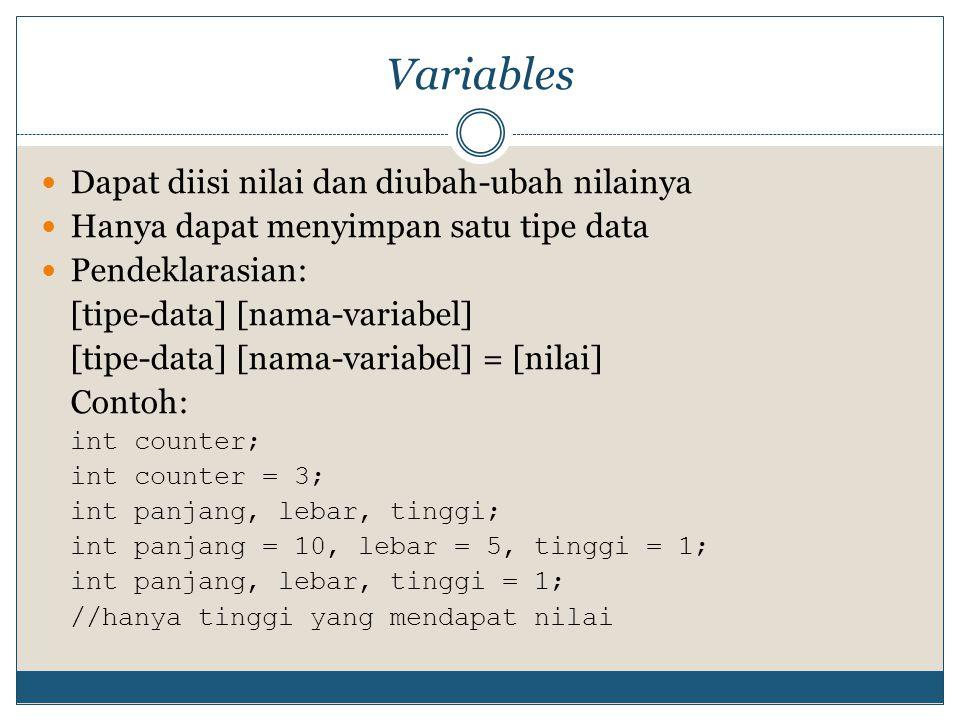 Variables Dapat diisi nilai dan diubah-ubah nilainya