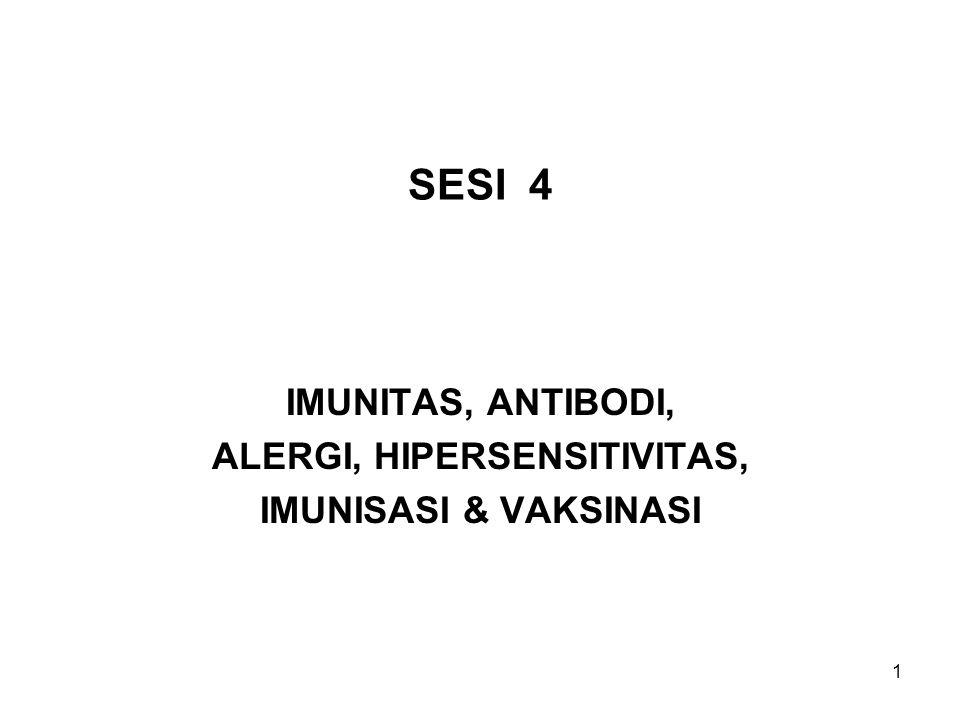 IMUNITAS, ANTIBODI, ALERGI, HIPERSENSITIVITAS, IMUNISASI & VAKSINASI