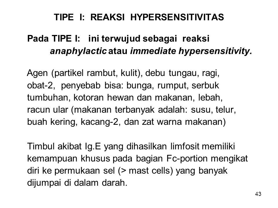 TIPE I: REAKSI HYPERSENSITIVITAS