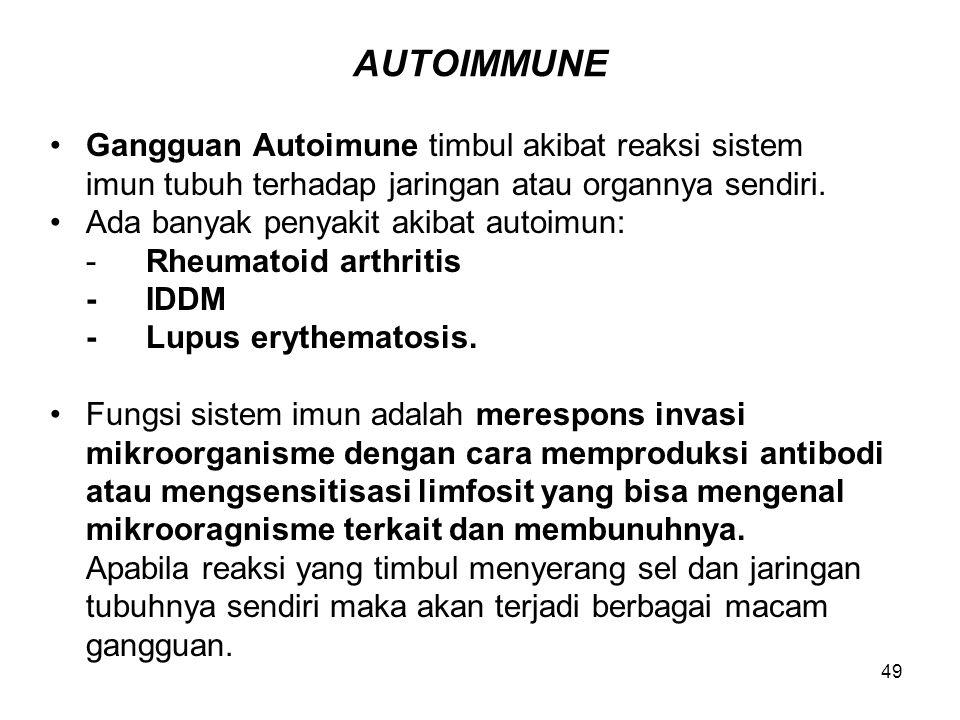 AUTOIMMUNE Gangguan Autoimune timbul akibat reaksi sistem