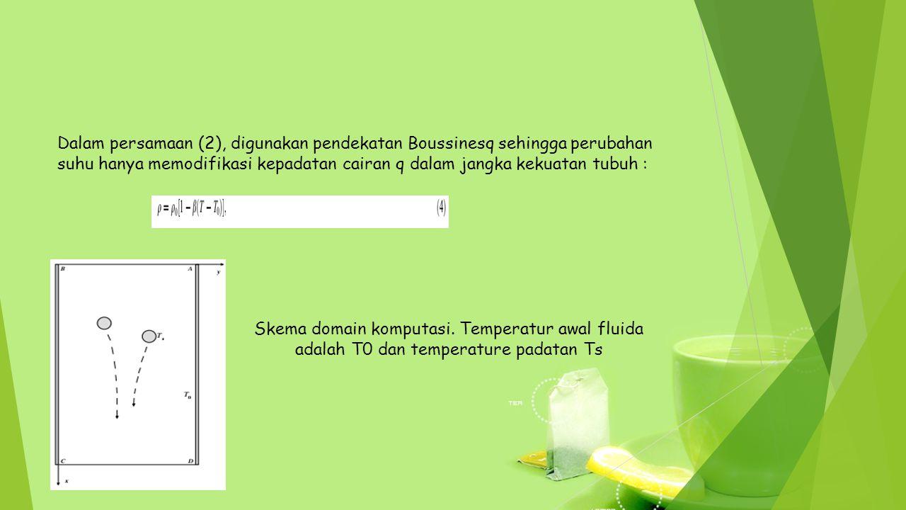 Dalam persamaan (2), digunakan pendekatan Boussinesq sehingga perubahan suhu hanya memodifikasi kepadatan cairan q dalam jangka kekuatan tubuh :