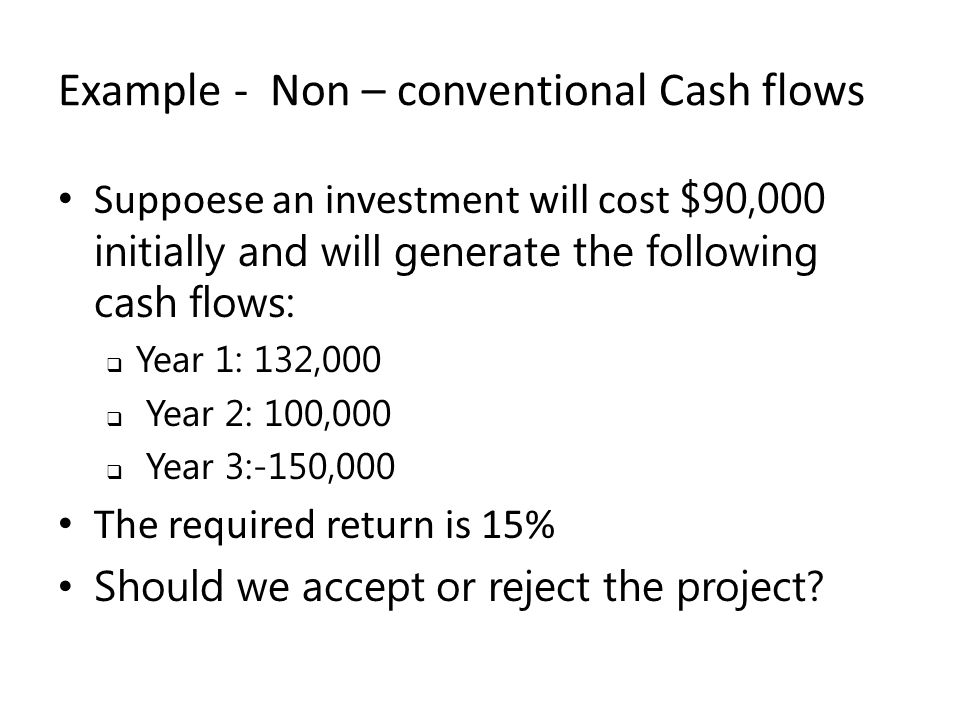 Example - Non – conventional Cash flows