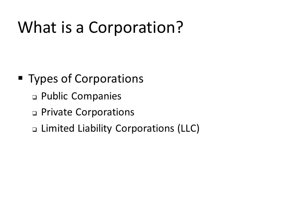 What is a Corporation Types of Corporations Public Companies