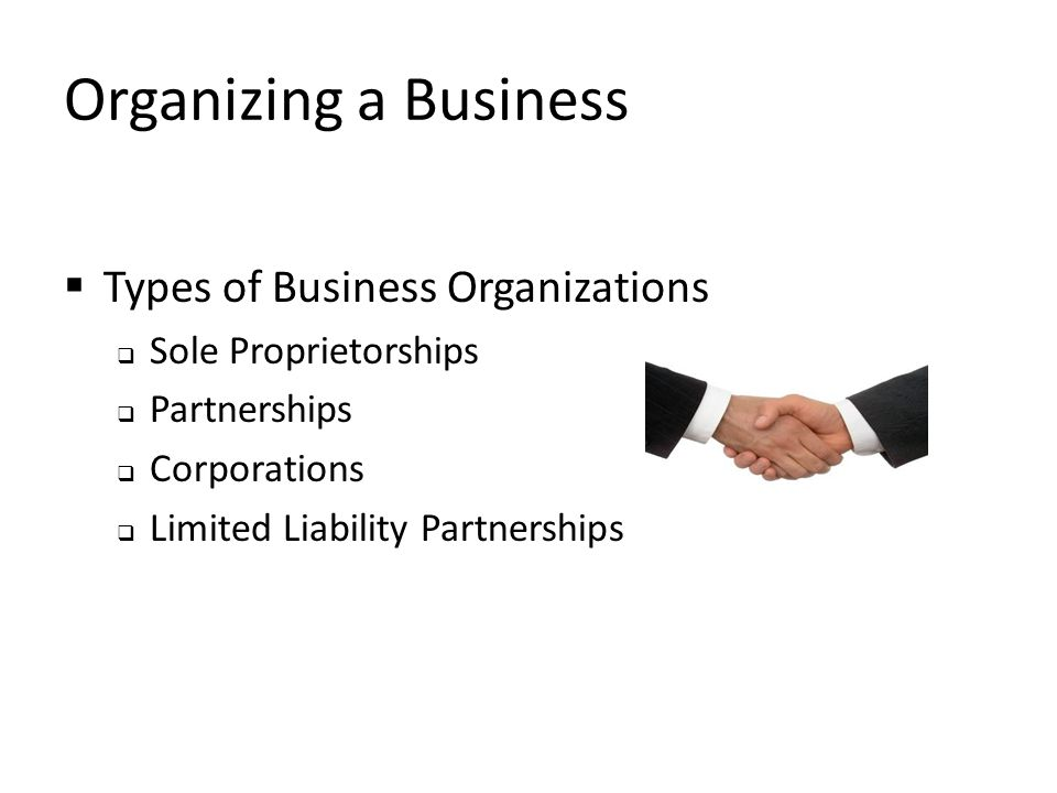 Organizing a Business Types of Business Organizations