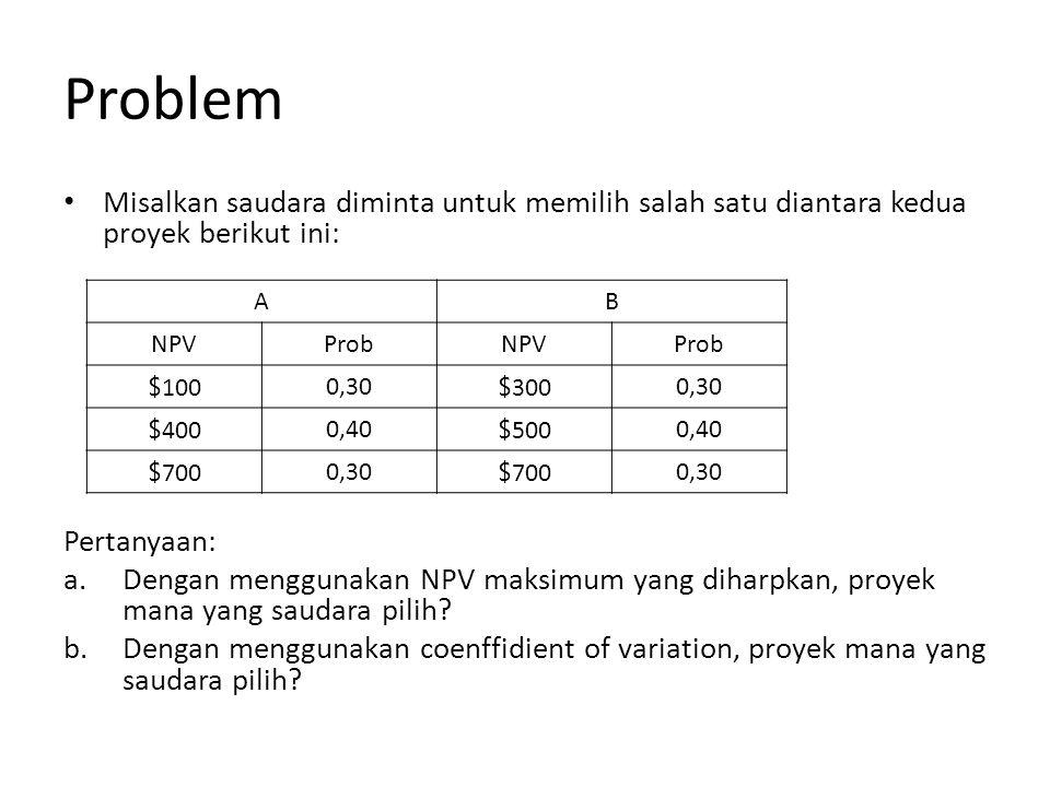 Problem Misalkan saudara diminta untuk memilih salah satu diantara kedua proyek berikut ini: Pertanyaan: