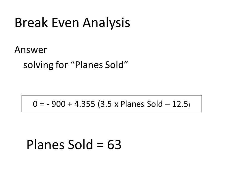 Break Even Analysis Planes Sold = 63 Answer solving for Planes Sold