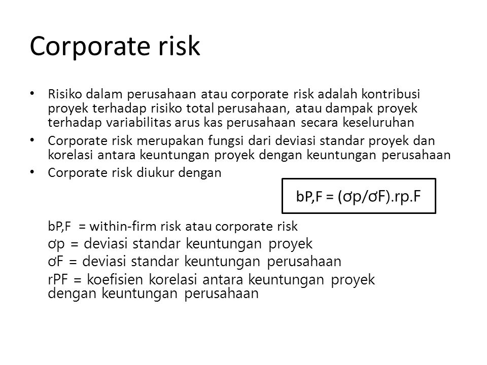 Corporate risk bP,F = (ơp/ơF).rp.F