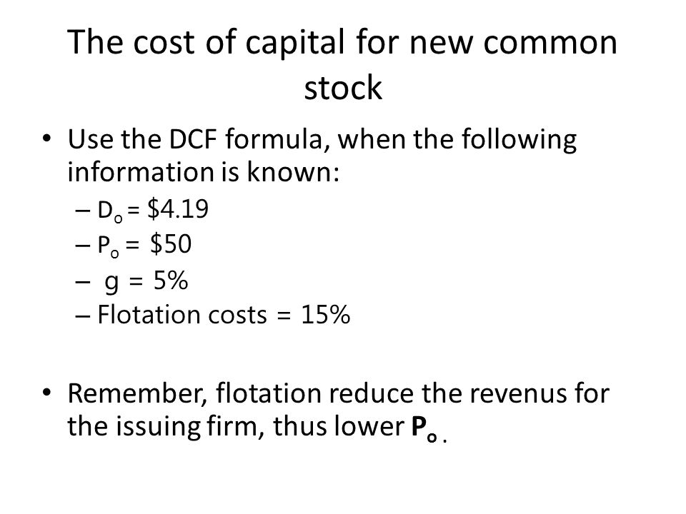 The cost of capital for new common stock