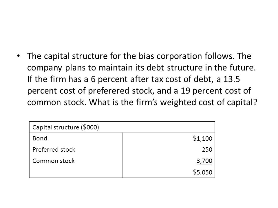 The capital structure for the bias corporation follows