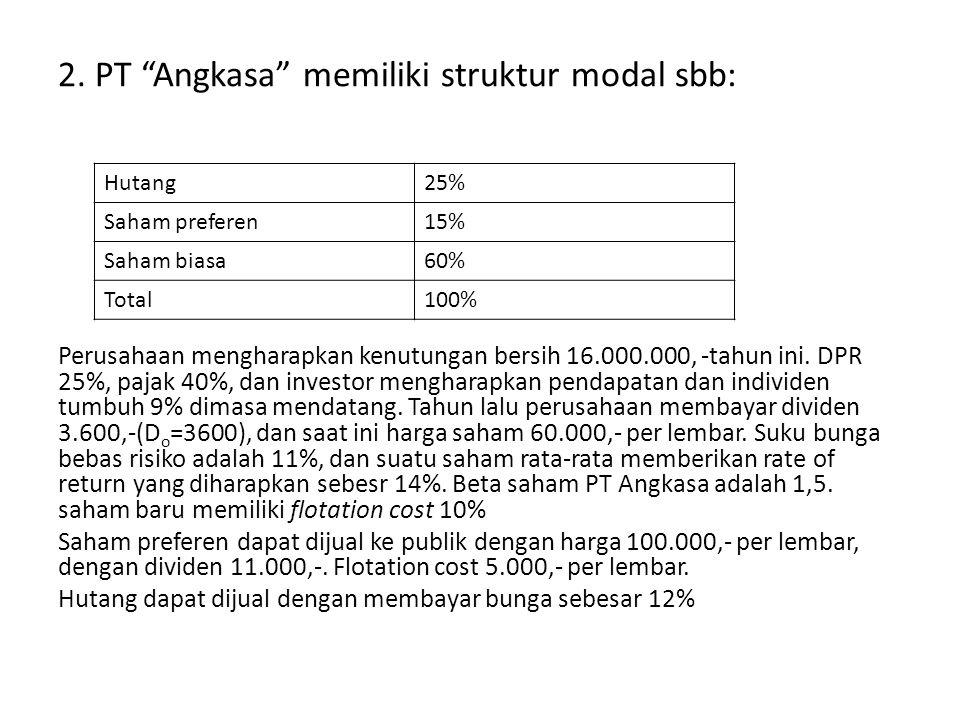 2. PT Angkasa memiliki struktur modal sbb: