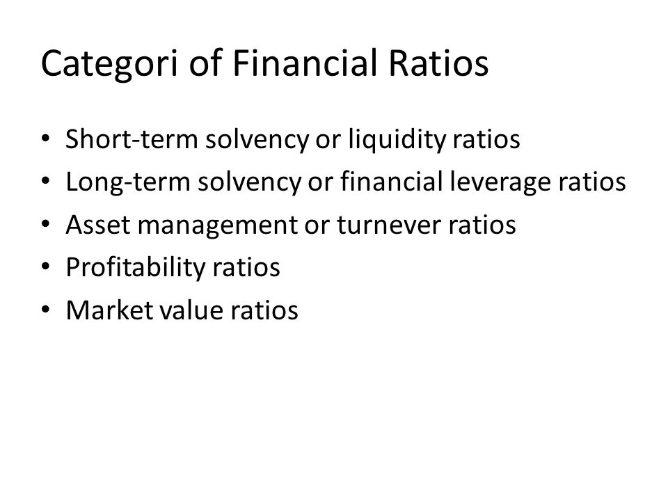 Categori of Financial Ratios