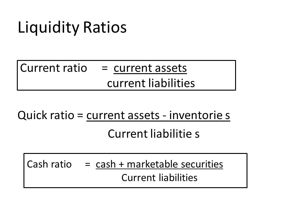 Liquidity Ratios Current ratio = current assets current liabilities