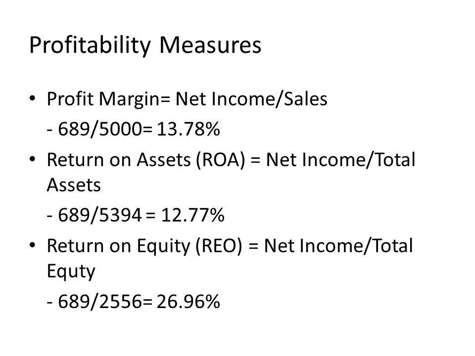 Profitability Measures