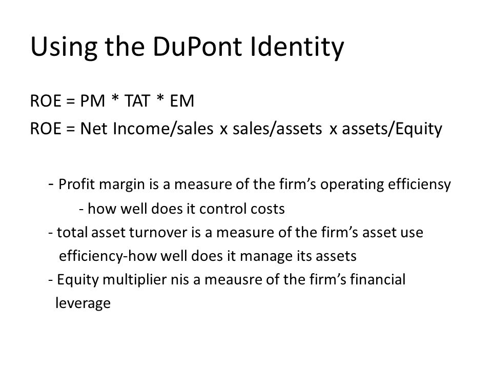 Using the DuPont Identity