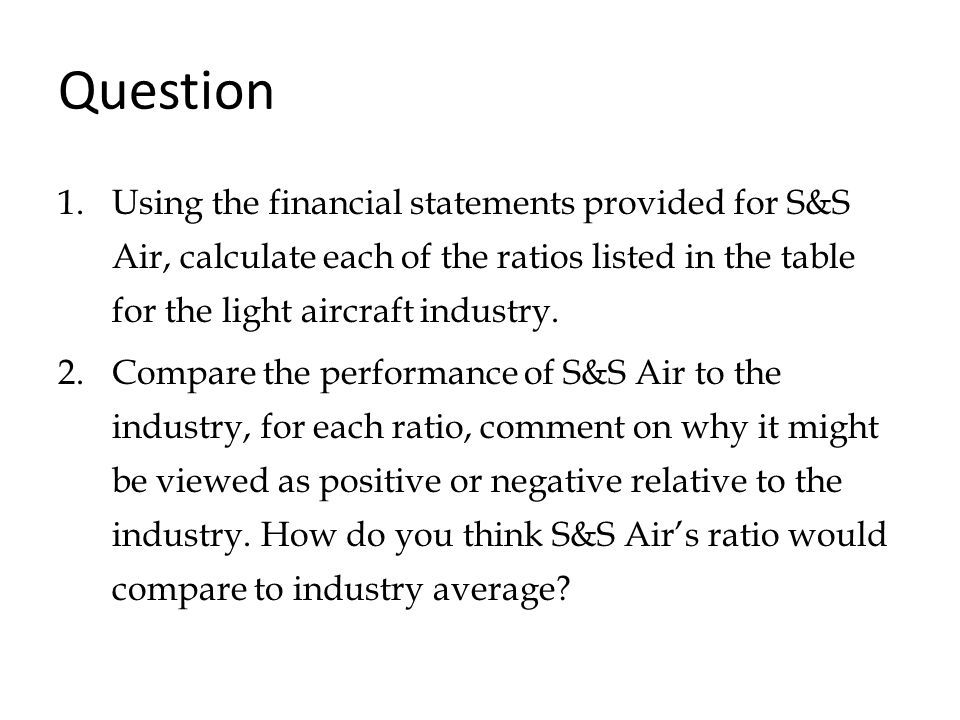 Question Using the financial statements provided for S&S Air, calculate each of the ratios listed in the table for the light aircraft industry.