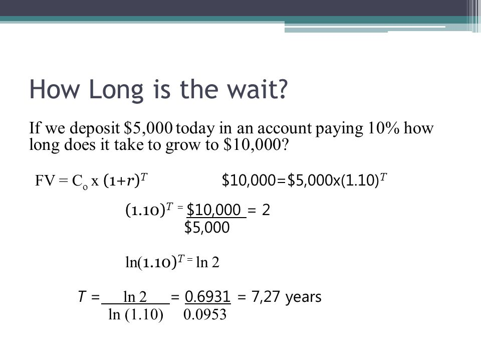 How Long is the wait If we deposit $5,000 today in an account paying 10% how long does it take to grow to $10,000