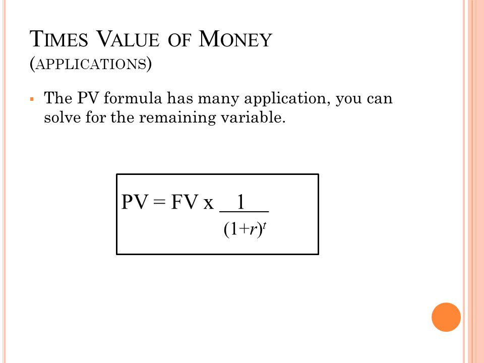 Times Value of Money (applications)