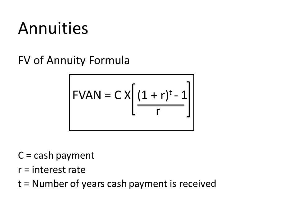 Annuities FVAN = C X (1 + r)t - 1 r FV of Annuity Formula