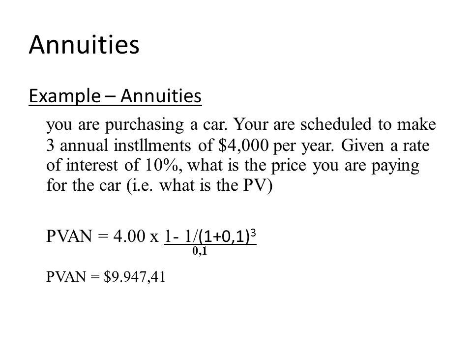 Annuities PVAN = $9.947,41 Example – Annuities
