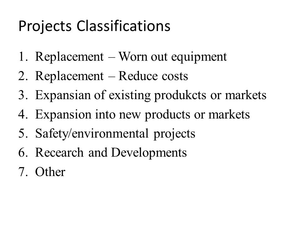 Projects Classifications
