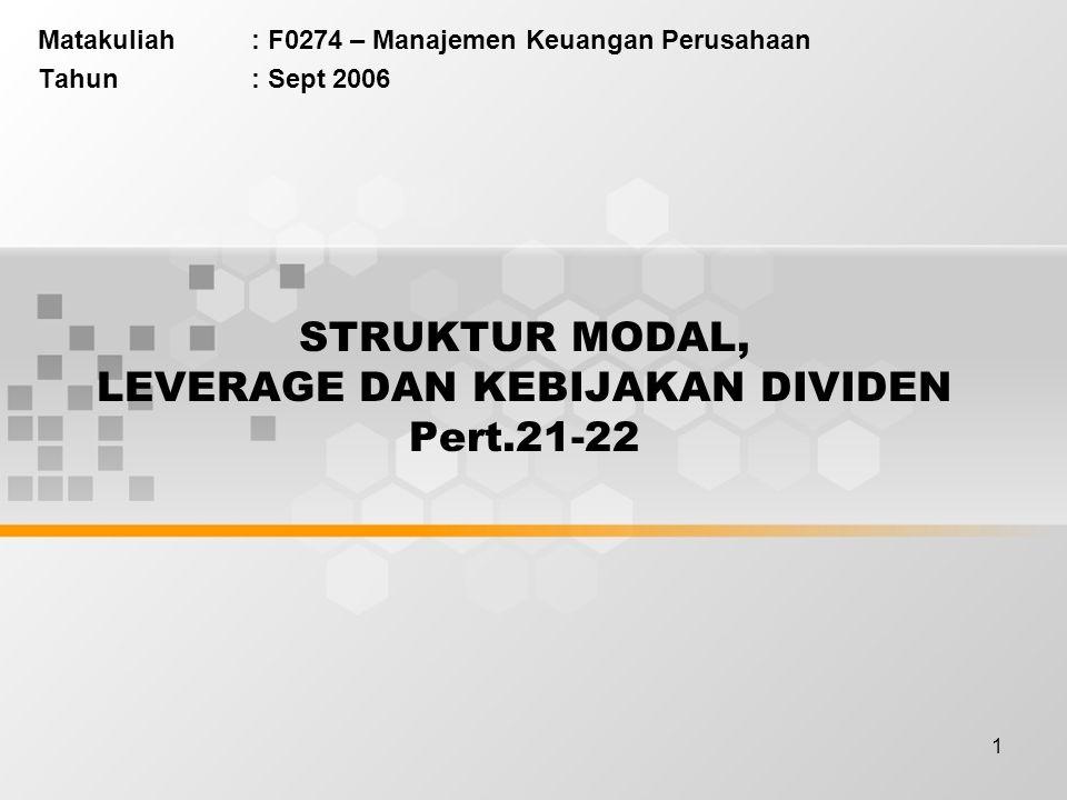 STRUKTUR MODAL, LEVERAGE DAN KEBIJAKAN DIVIDEN Pert.21-22