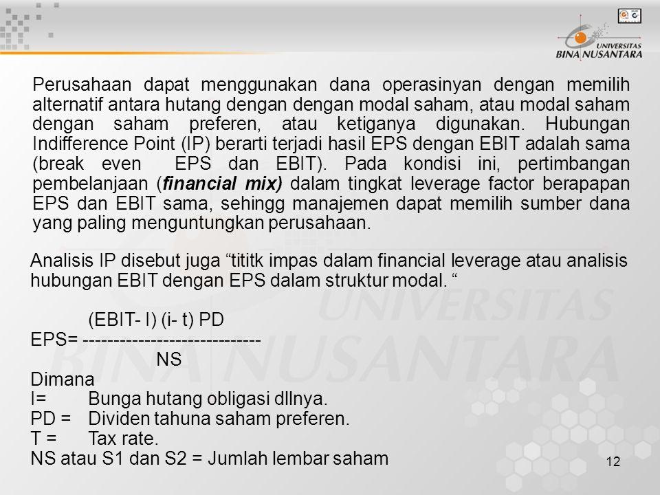Perusahaan dapat menggunakan dana operasinyan dengan memilih alternatif antara hutang dengan dengan modal saham, atau modal saham dengan saham preferen, atau ketiganya digunakan. Hubungan Indifference Point (IP) berarti terjadi hasil EPS dengan EBIT adalah sama (break even EPS dan EBIT). Pada kondisi ini, pertimbangan pembelanjaan (financial mix) dalam tingkat leverage factor berapapan EPS dan EBIT sama, sehingg manajemen dapat memilih sumber dana yang paling menguntungkan perusahaan.