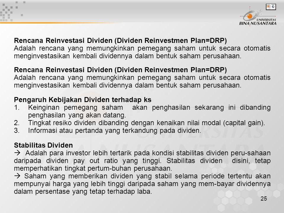 Rencana Reinvestasi Dividen (Dividen Reinvestmen Plan=DRP)