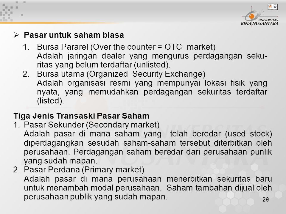 Pasar untuk saham biasa