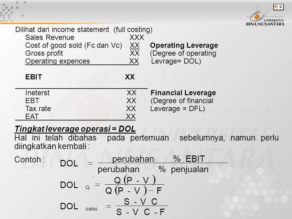 ( ) F - C V S DOL P Q penjualan % perubahan EBIT =