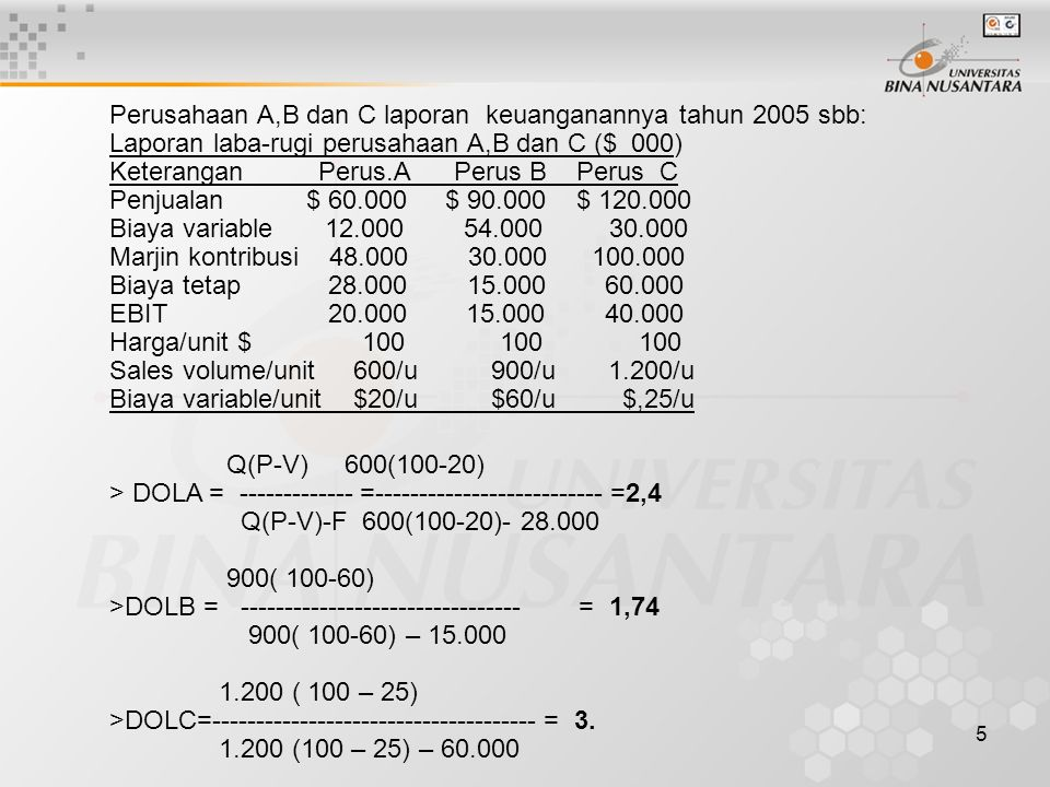 Perusahaan A,B dan C laporan keuanganannya tahun 2005 sbb: