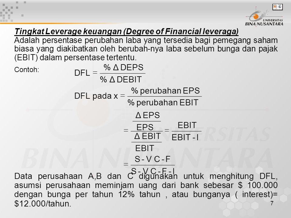 I - F C V S EBIT Δ EPS perubahan % x pada DFL DEBIT DEPS =