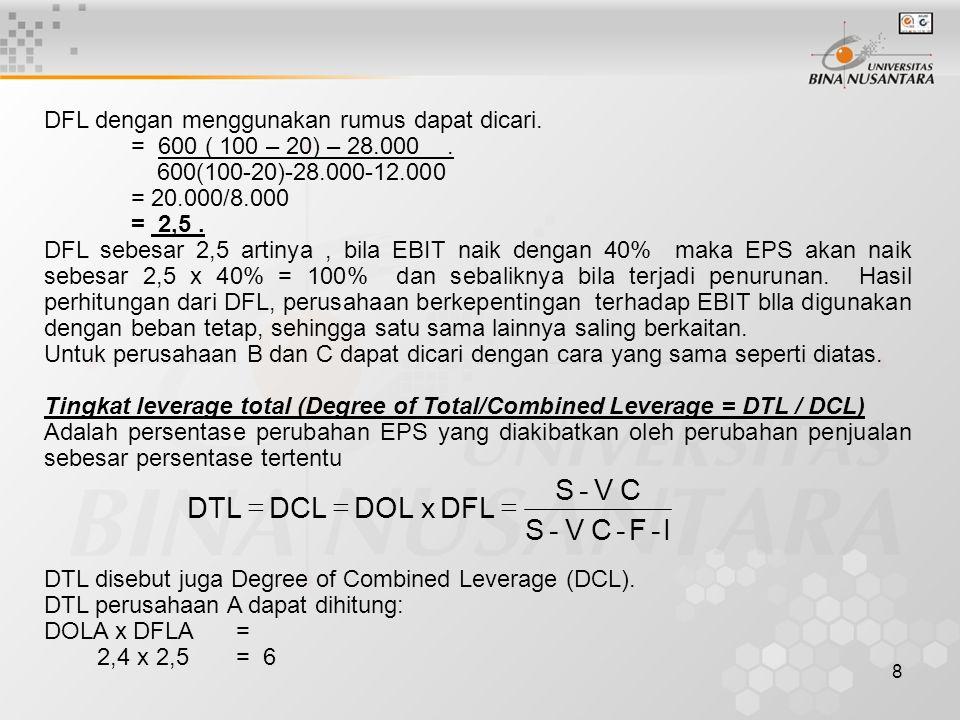 I - F C V S DFL x DOL DCL DTL =