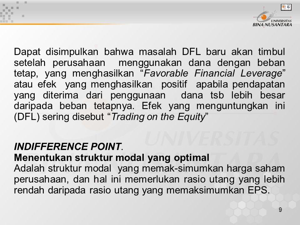 Dapat disimpulkan bahwa masalah DFL baru akan timbul setelah perusahaan menggunakan dana dengan beban tetap, yang menghasilkan Favorable Financial Leverage atau efek yang menghasilkan positif apabila pendapatan yang diterima dari penggunaan dana tsb lebih besar daripada beban tetapnya. Efek yang menguntungkan ini (DFL) sering disebut Trading on the Equity