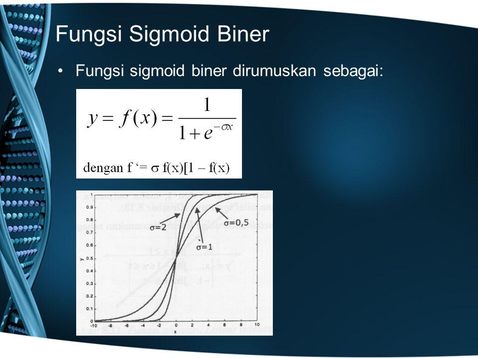 Fungsi Sigmoid Biner Fungsi sigmoid biner dirumuskan sebagai: