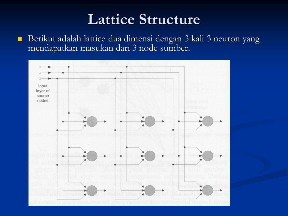 Lattice Structure Berikut adalah lattice dua dimensi dengan 3 kali 3 neuron yang mendapatkan masukan dari 3 node sumber.
