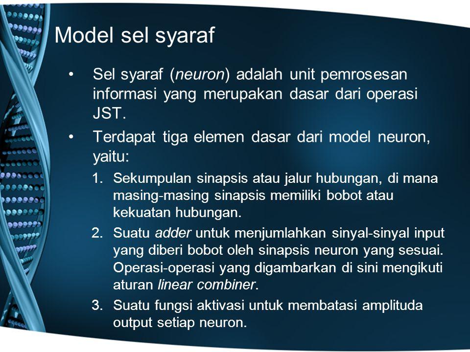 Model sel syaraf Sel syaraf (neuron) adalah unit pemrosesan informasi yang merupakan dasar dari operasi JST.
