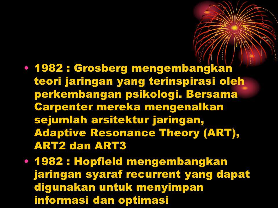 1982 : Grosberg mengembangkan teori jaringan yang terinspirasi oleh perkembangan psikologi. Bersama Carpenter mereka mengenalkan sejumlah arsitektur jaringan, Adaptive Resonance Theory (ART), ART2 dan ART3