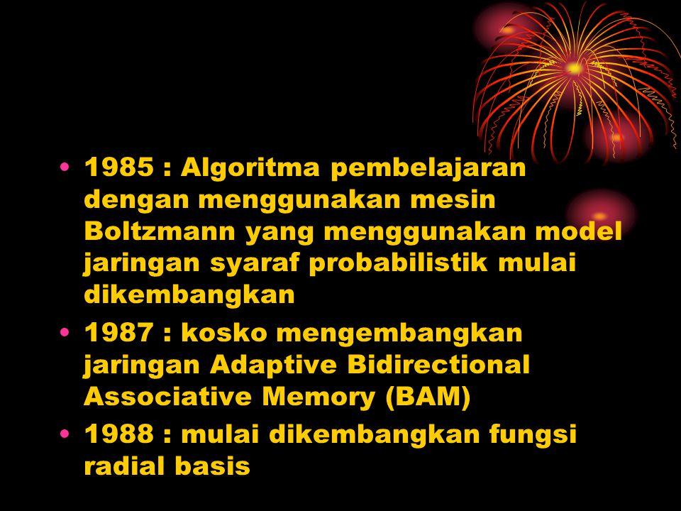 1985 : Algoritma pembelajaran dengan menggunakan mesin Boltzmann yang menggunakan model jaringan syaraf probabilistik mulai dikembangkan