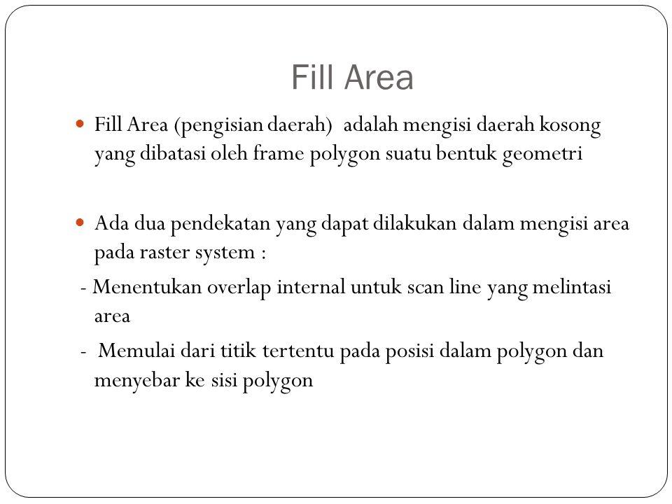 Fill Area Fill Area (pengisian daerah) adalah mengisi daerah kosong yang dibatasi oleh frame polygon suatu bentuk geometri.