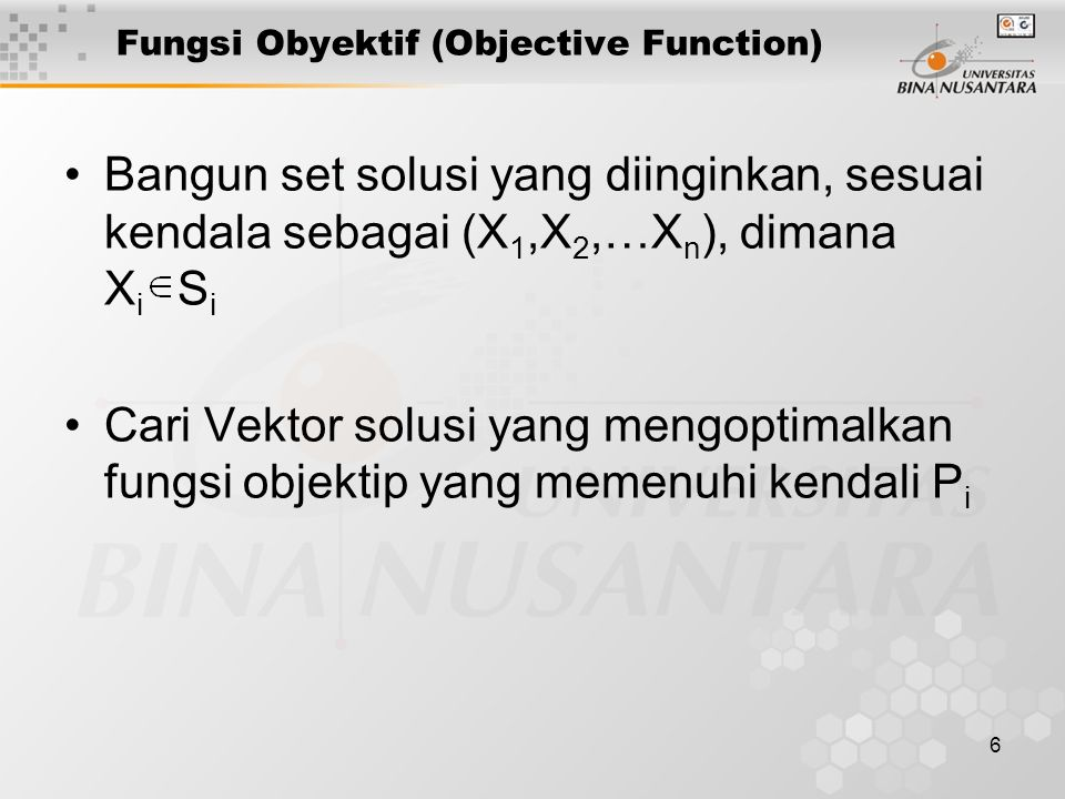 Fungsi Obyektif (Objective Function)