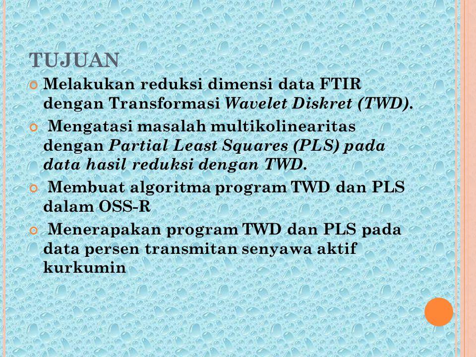 TUJUAN Melakukan reduksi dimensi data FTIR dengan Transformasi Wavelet Diskret (TWD).