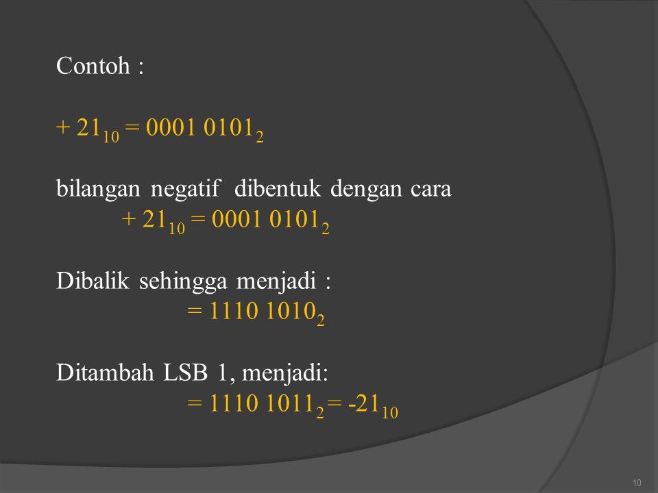Contoh : + 2110 = 0001 01012. bilangan negatif dibentuk dengan cara. Dibalik sehingga menjadi : = 1110 10102.