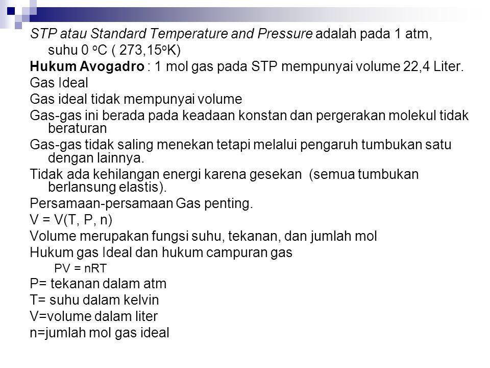 STP atau Standard Temperature and Pressure adalah pada 1 atm,